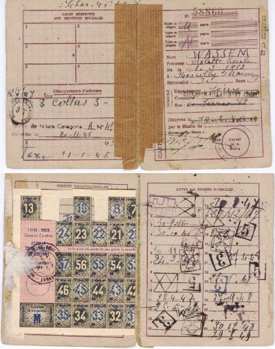 Closer view of her french ration-book